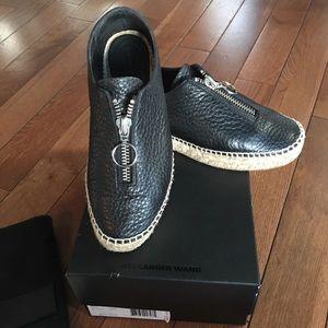 Alexander Wang Devon blk leather platform shoes 38